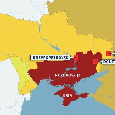 Kartta ukraina Novorossija