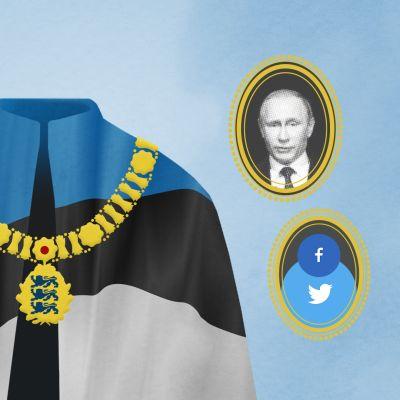Grafiikka, jossa Viron lipusta tehty kaapu vailla kantajaa.