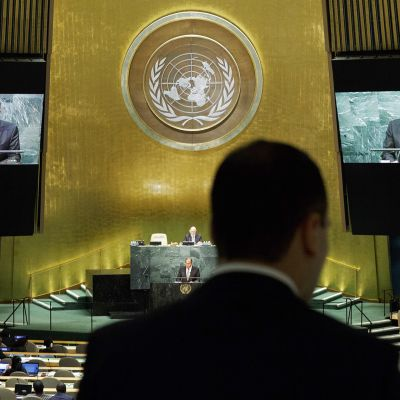 Sergei Lavrov puhuu YK:n päämajassa New Yorkissa