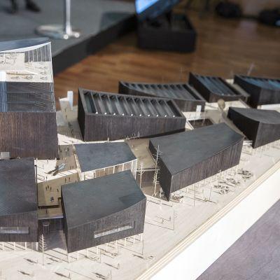 Helsingin Guggenheimin arkkitehtuurikilpailun voittajapienoismalli.