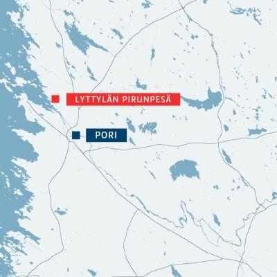 Kartta Pirunpesän sijainnista.
