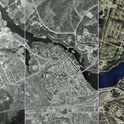 Kolmesta eri aikaan otetusta ilmakuvasta koostettu kuva Kajaanin kaupungista.