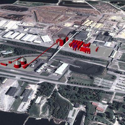 Havainnekuva Pietarsaaren Alholmaan tulevasta bioetanolitehtaasta