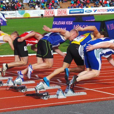 100 metrin alkuerän lähtö Porin Kalevan Kisoissa 2.8.2015