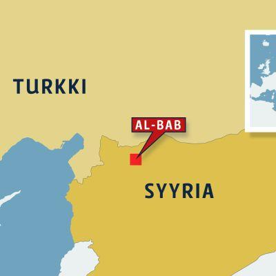 Kartta Turkin ja Syyrian raja-alueesta