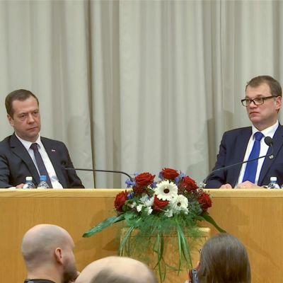 Uutisvideot: Venäjän ja Suomen pääministerien tiedotustilaisuus
