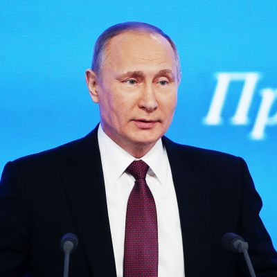 Putin lehdistötilaisuudessa Moskovassa.