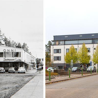 Lauritsalan Yhdyspankki Luukkaantorilla vuonna 1965 ja nykyinen rakennus vuonna 2016.