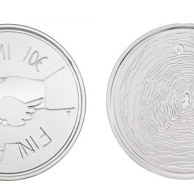 Suomi 100 vuotta -juhlaraha, hopeaa.