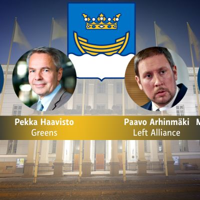 Yhdistelmäkuvassa Pekka Sauri, Pekka Haavisto, Paavo Arhinmäki ja Mika Raatikainen. Taustalla Helsingin kaupungintalo.