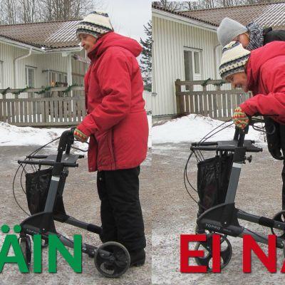 Mummo ja fysioterapeutti näyttävät oikean asennon rollaattorilla kulkemiseen.