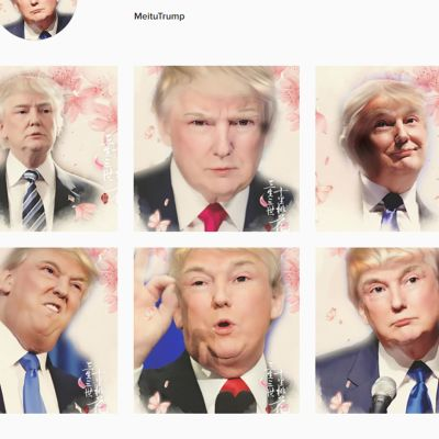 Kuvakaappaus Meitu-sovelluksella käsitellyistä Donald Trumpin kuvista Instagramissa.