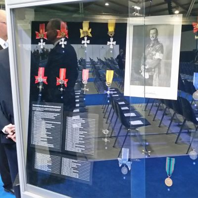 Kansallisen veteraanipäivän juhlissa Oulussa oli myös aiheeseen liittyvä näyttely.