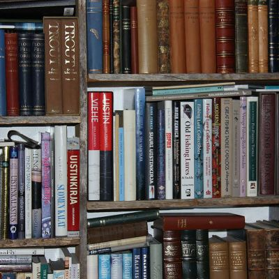 Kirjoja hyllyissä.