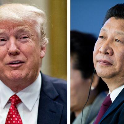 Yhdysvaltain presidentti Donald Trump (vas.) ja Kiinan presidentti Xi Jinping