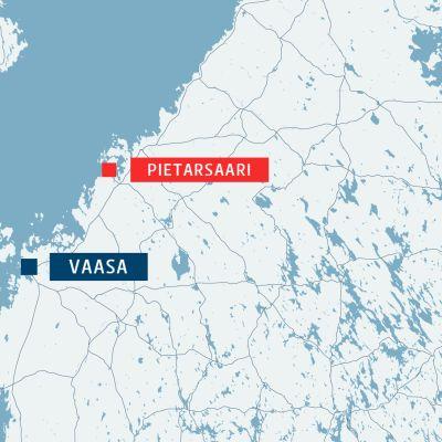 Kartta, jossa ovat Pietarsaari sekä Vaasa.
