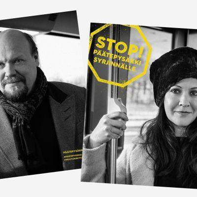 Stop! Päätepysäkki syrjinnälle -kampanjan kasvoja; Hannu-Pekka Björkman ja Vuokko Hovatta.