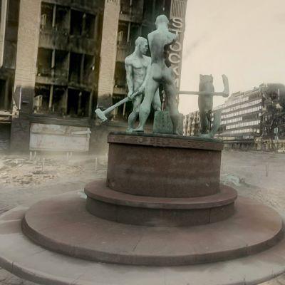 Virtuaalitodellisuusmaisema tuhoutuneesta Helsingistä.