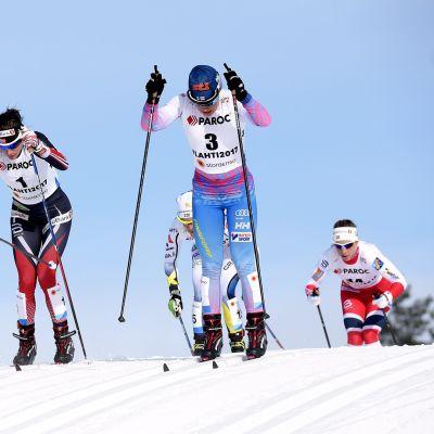 Marit Bjørgen, Charlotte Kalla ja Krista Pärmäkoski.