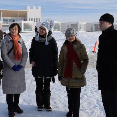 Kiinalaisdelegaatio vierailulla Kemissä talvella 2017.