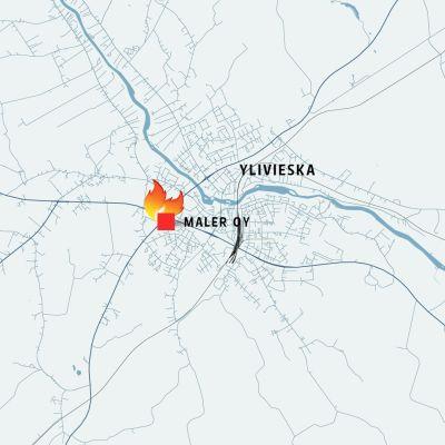 Ylivieskan kartta, johon on merkitty Maler Oy.
