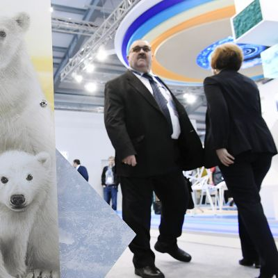 Presidentti Niinistö ja Putin arktisen foorumin paneelikeskustelussa