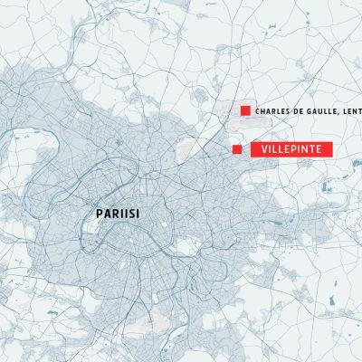 Pariisin alueen kartta, johon on merkitty Villepinte ja Charles de Gaullen lentoasema.