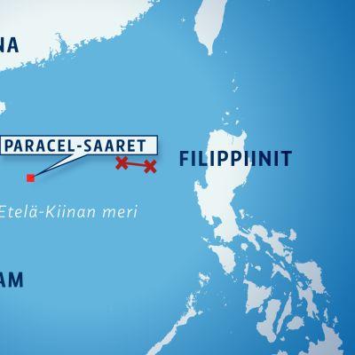 Kartta Paracelsaarien tuntumasta Etelä-Kiinan mereltä.