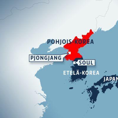 Kartta, jossa näkyy Etelä- ja Pohjois-Korean sijainnit suhteessa Japaniin.