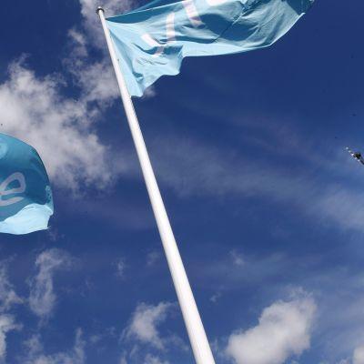 Yleisradion linkkitorni ja lippuja mediatalon edustalla.