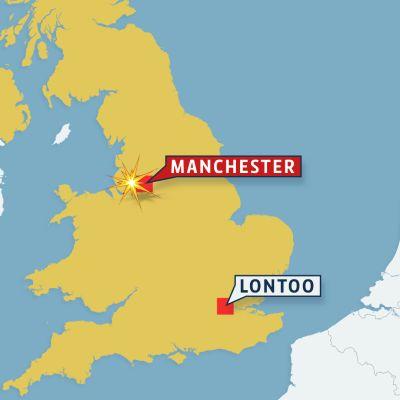 Kartta jossa Manchester