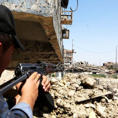 Aseistettu irakilainen poliisi Mosulissa.