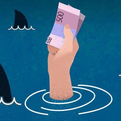 Grafiikka jossa hait pyörivät rahaa pitelevän käden ympärillä.