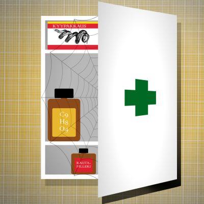 Puolillaan auki oleva lääkekaappi, josta pilkistää muutama vanha lääkepurkki ja kyypakkaus.