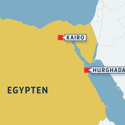 Karta över Egypten med Hurghada och Kairo.