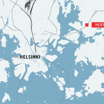 kartta jossa Herttoniemi