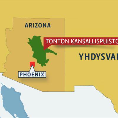 Arizona kartalla.