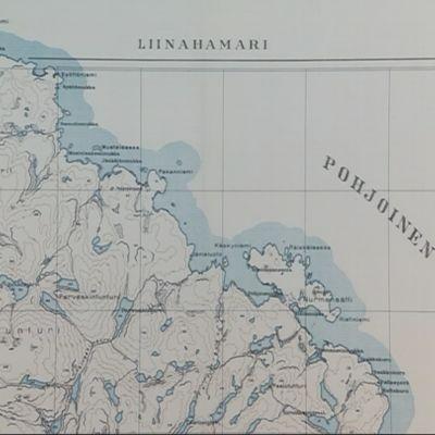 Petsamon karttaa 1930 luvulta. Rovaniemen kirjaston Lappi-osaston näyttelystä 17.7.2017