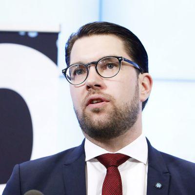 Ruotsidemokraatit-puolueen puheenjohtaja Jimmie Åkesson.