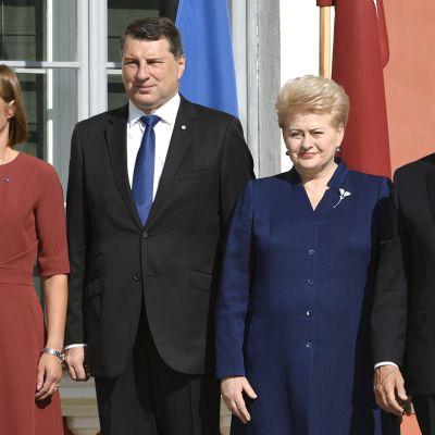 Yhdysvaltain varapresidentti Mike Pence ja Baltian presidentit pitävät tiedotustilaisuuden
