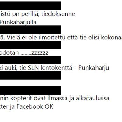 Kuvakaappaus Minna Timosen saamasta viestiketjusta.