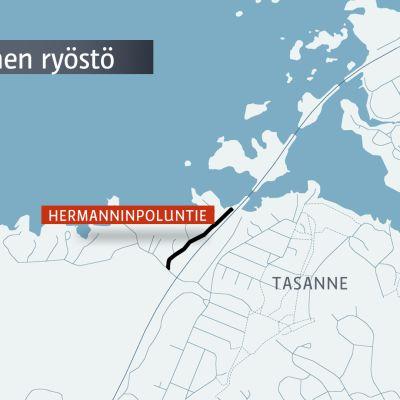 Kartta: Atala Hermanninpoluntie Aseellinen ryöstö