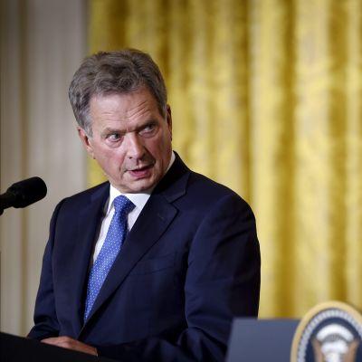 Tasavallan presidentti Sauli Niinistö ja Yhdysvaltain presidentti Donald Trump pitivät lehdistötilaisuuden Valkoisessa talossa 28. elokuuta.