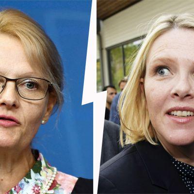 Ruotsin uusi maahanmuuttoministeri Helene Fritzon ja hänen norjalainen ministerikollegansa Sylvi Listhaug.