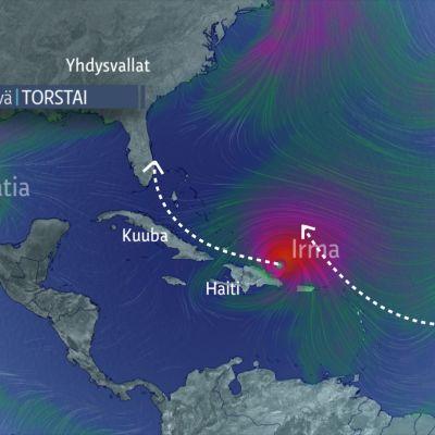 Hurrikaani Irma liikkuu Karibialla