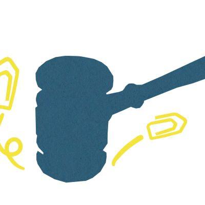 graafinen symbolikuva talouden ymmärryksestä: konkurssi, nuija, klemmareita