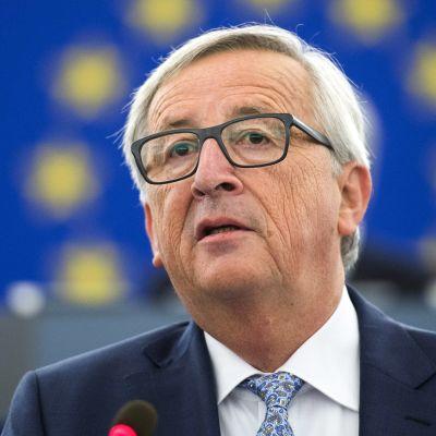 Euroopan komission puheenjohtaja Jean-Claude Juncker kuvattuna Euroopan parlamentissa Strasburgissa 13. syyskuuta.