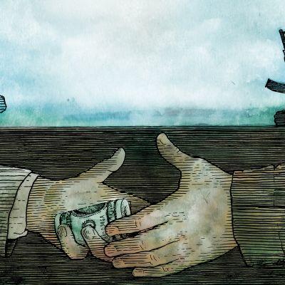 Kuvituskuva virkamiehestä, terroristista ja rahan siirtymisestä.