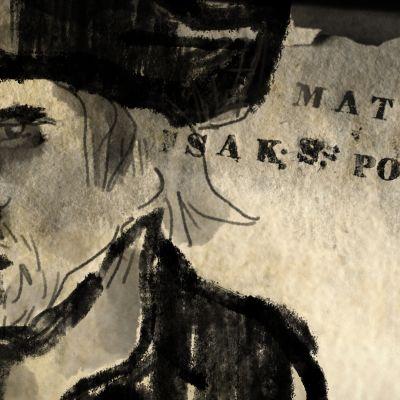 Piirretty kuva Matti Pohdosta.