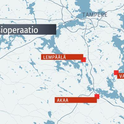 Poliisioperaati Pirkanmaalla, kartta